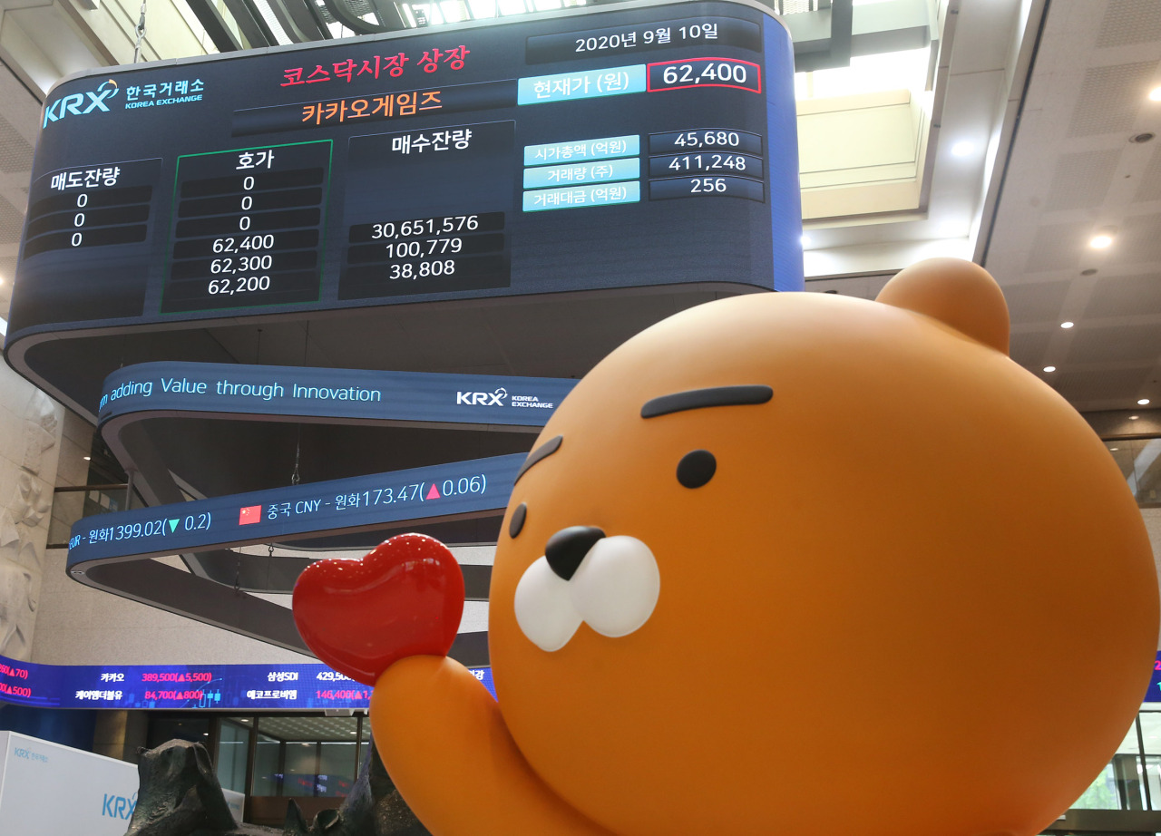 Ryan, a chatting character of South Korea's messenger app Kakao Talk, cheers Kakao Games' listing in the secondary KOSDAQ market on Sept. 10, 2020, in this photo provided by bourse operator Korea Exchange. (Korea Exchange)