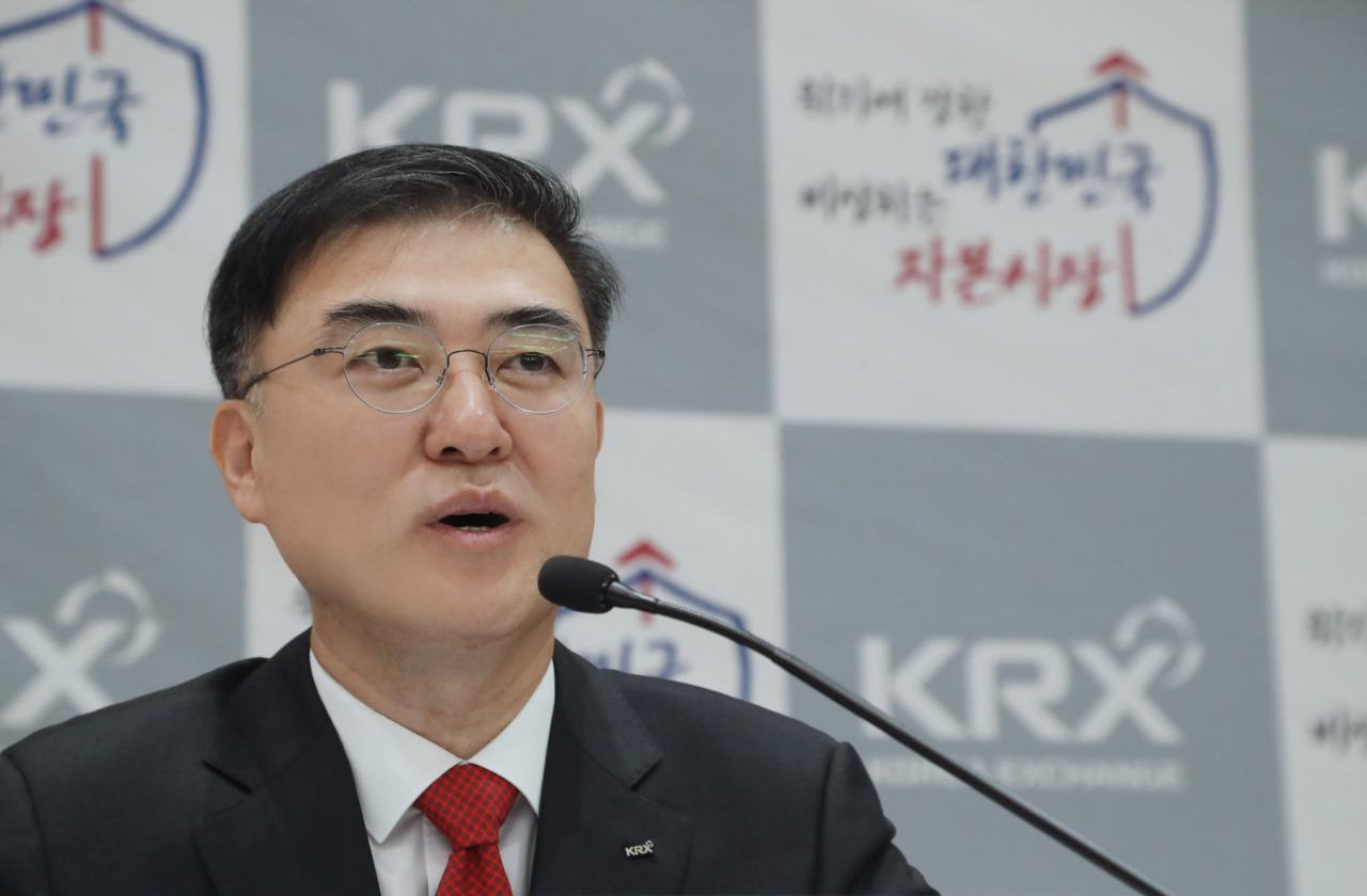 Sohn Byung-doo, chairman of the Korea Exchange, speaks during an online press briefing on Tuesday morning. (KRX)