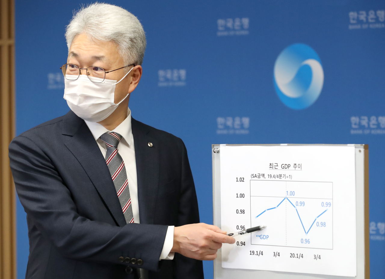 Park Yang-su, head of the economics statistics department at the Bank of Korea explains a graph of South Korea's GDP growth in a press briefing on Tuesday. (Bank of Korea)