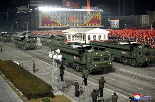 North Korean weapons systems shown at a recent military parade. (KCNA-Yonhap)