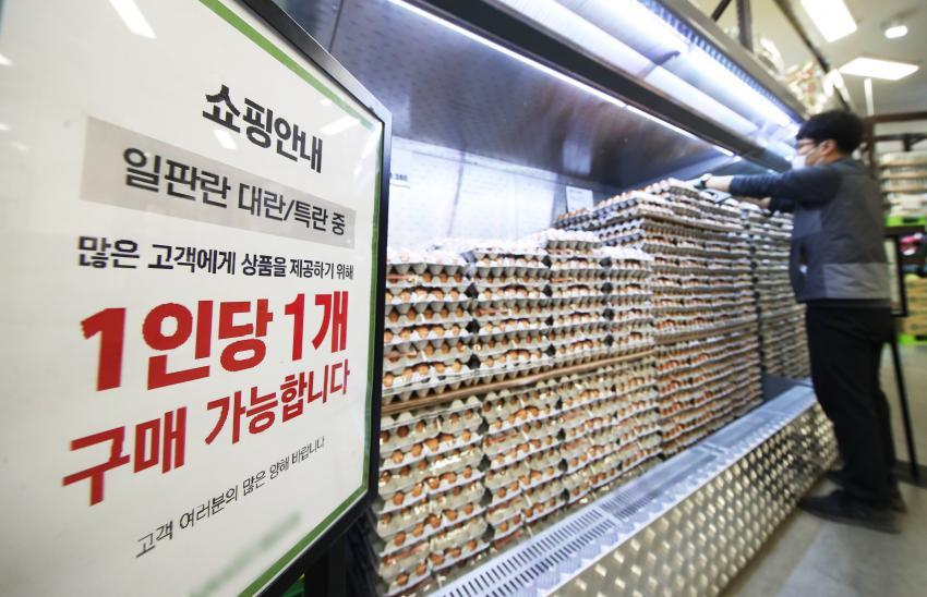 Shown in the photo taken Tuesday, is a sign posted at a supermarket in Ansan, 42 km south of Seoul, which limits the purchase of eggs to one carton per shopper. (Yonhap)
