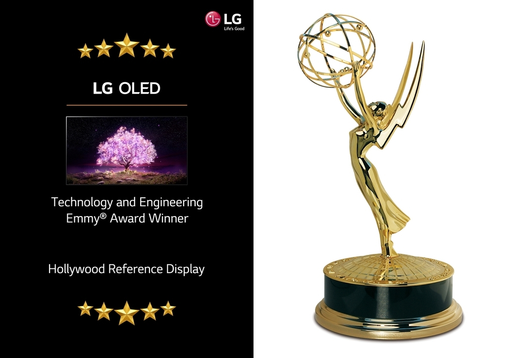 This image, provided by LG Electronics Inc. on Wednesday, shows the company's OLED TV and a trophy from the 72nd Annual Technology & Engineering Emmy Awards. (LG Electronics)