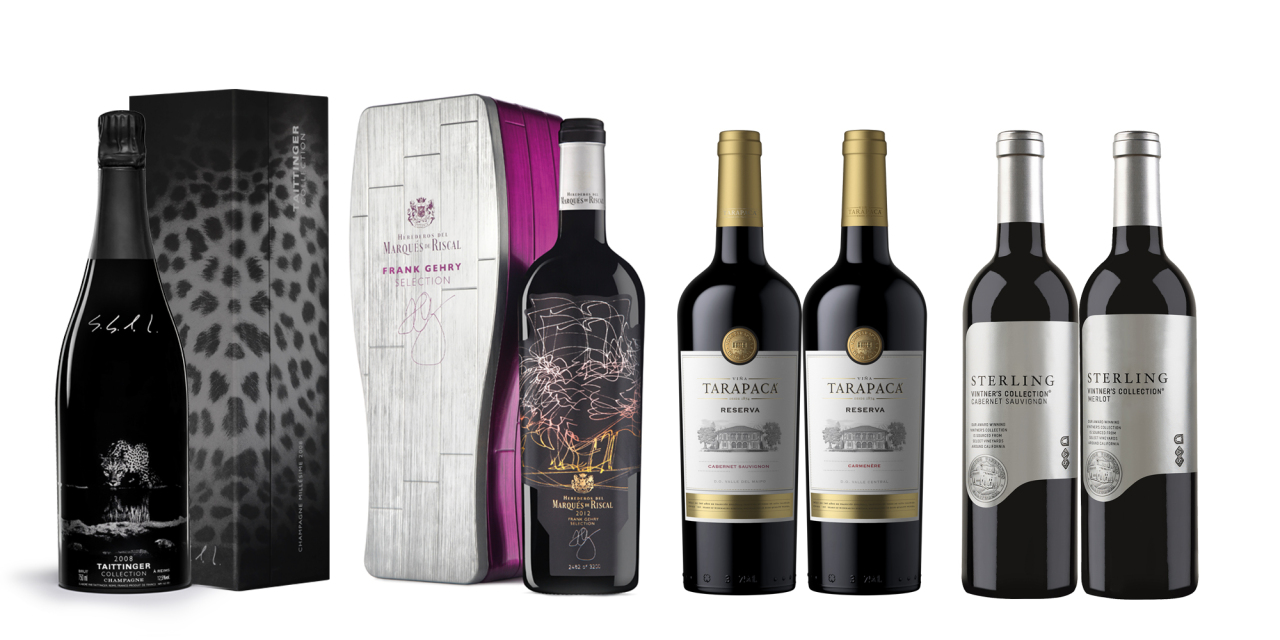 Taittinger Artist Collection Vintage Brut (left), Marques de Riscal Frank Gehry Selection, the Tarapaca Reserva set and Sterling Vintner's Collection. (HiteJinro)