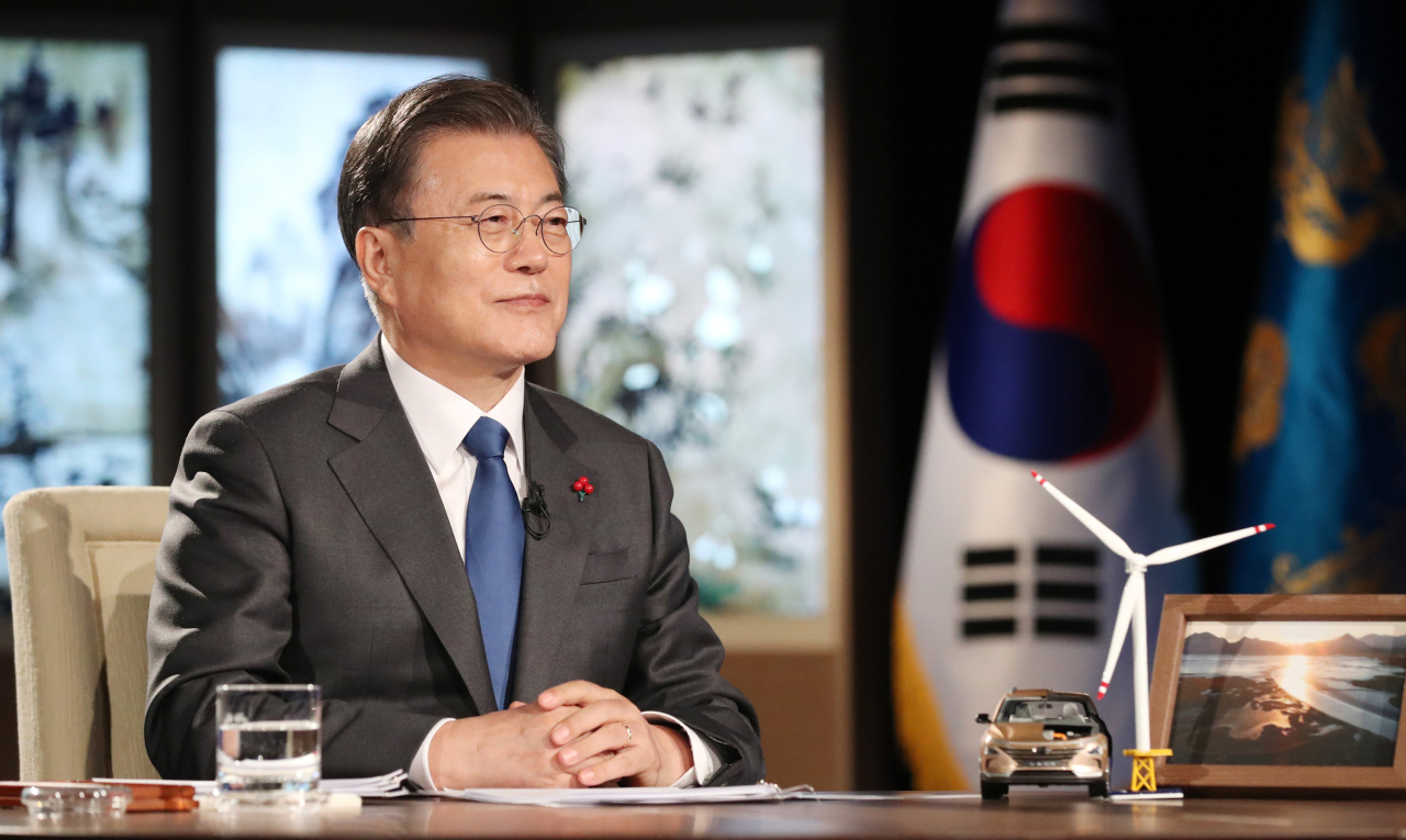 South Korean President Moon Jae-in delivers a special speech during a virtual session of the World Economic Forum (WEF) at Cheong Wa Dae in Seoul on Wednesday. (Yonhap)