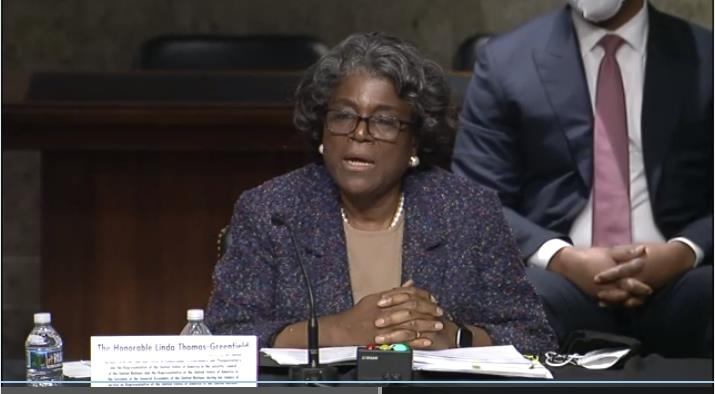 The captured image from the website of the US Senate Foreign Relations Committee shows US Ambassador to UN nominee Linda Thomas-Greenfield speaking in a Senate confirmation hearing on Wednesday. (Yonhap)