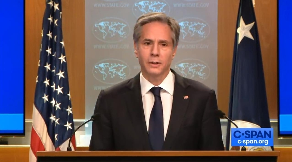 This image captured from the website of US news network C-Span shows US Secretary of State Antony Blinken speaking at a press briefing at the State Department in Washington on Wednesday. (US news network C-Span)