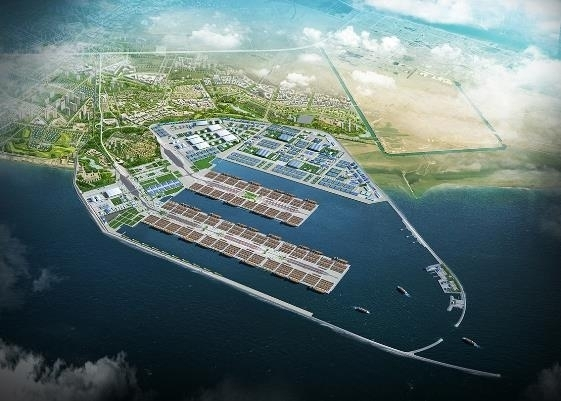 This graphic image provided by Daewoo E&C shows the Al Faw port to be built in Basra, Iraq. (Daewoo E&C)