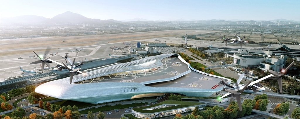 This rendered image, provided by Korea Airports Corp. on Thursday, shows the planned terminal for urban air mobility services. (Korea Airports Corp.)