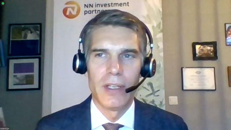 NN Investment Partners CIO Valentijn van Nieuwenhuijzen speaks at a teleconference with South Korean reporters. (NN Investment Partners)