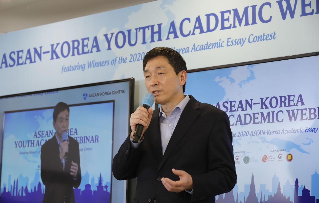 Lee Hyuk, secretary-general of the ASEAN-Korea Centre, speaks at the event on Wednesday. (ASEAN-Korea Centre)
