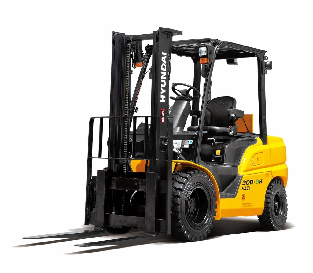 This photo provided by Hyundai Construction Equipment Co. on Thursday, shows a 3-ton forklift produced by the company. (Hyundai Construction Equipment Co.)