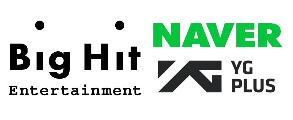 Naver, Big Hit Entertainment and YG Plus logos