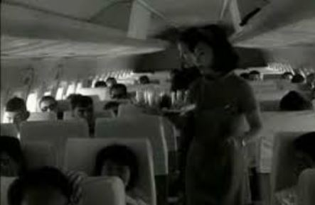 The photo shows the interior of a flag carrier departing for Tokyo from Gimpo International Airport in Seoul in 1968, when Korea conducted a nationwide family planning campaign in response to a historic increase in its population between the mid-1950s and mid-1960s. (National Archives of Korea)