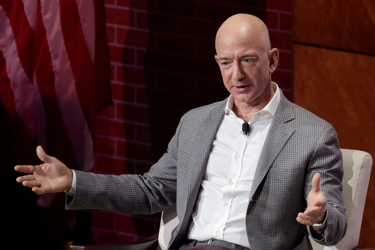 Jeff Bezos, Chairman and CEO of Amazon, speaks at the George W. Bush Presidential Center's Forum on Leadership in Dallas, Texas, US, April 20, 2018. (Reuters-Yonhap)