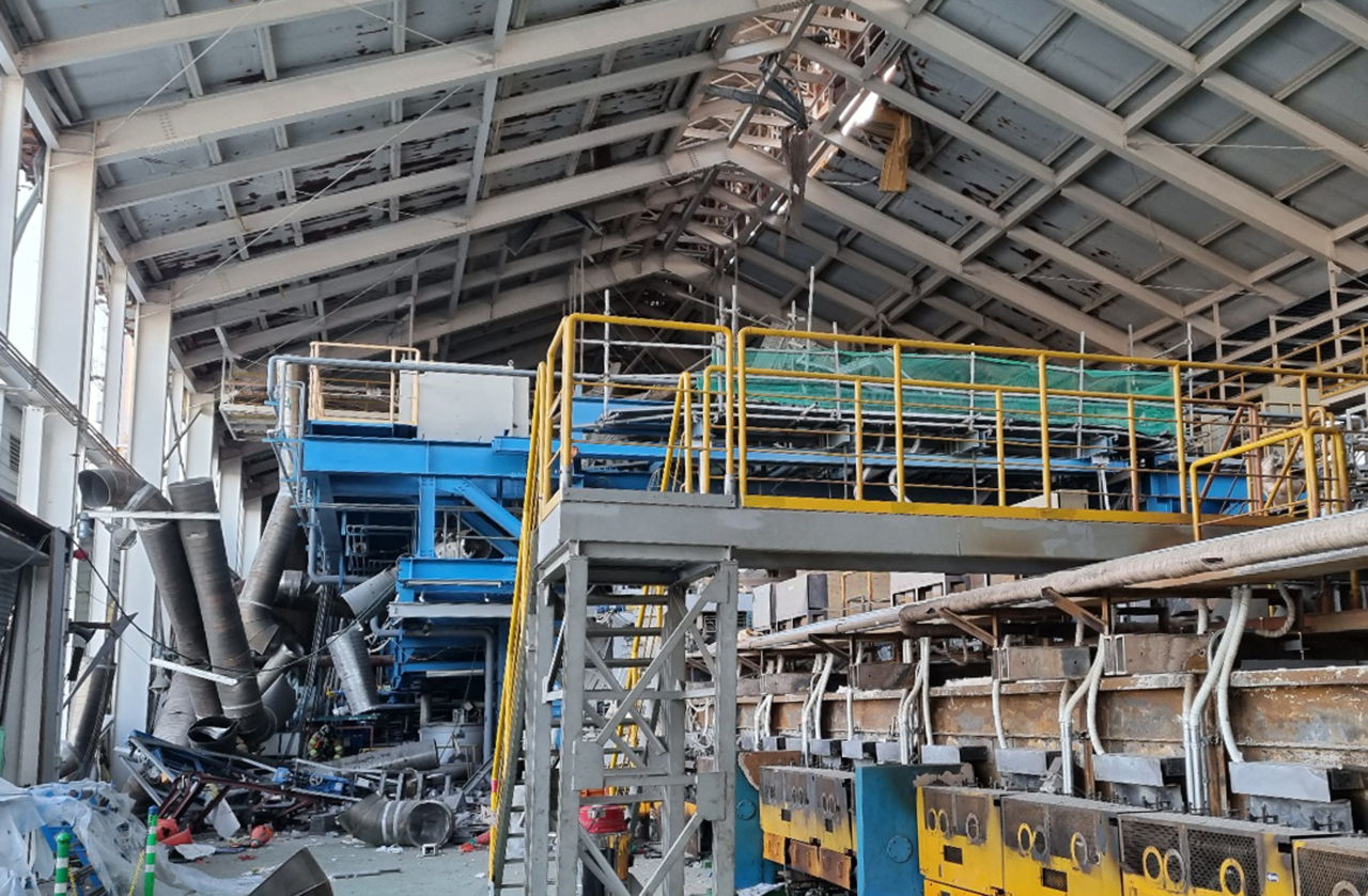 This photo, provided by Gyeongbuk Fire Service Headquarters last Friday, shows the inside of AGC Fine Techno Korea's plant in Gumi, North Gyeongsang Province, following an explosion accident. (Gyeongbuk Fire Service Headquarters)
