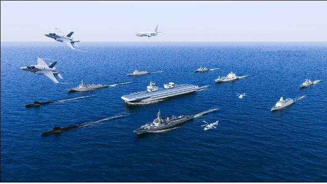 This image, provided by the Navy, shows an artist's rendition of a light aircraft carrier when put into operation. (Republic of Korea Navy)