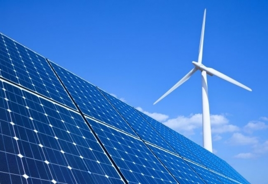 A rendered image of a solar panel and a wind turbine. (123rf)