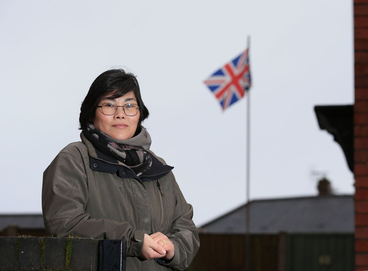 North Korean-born Jihyun Park, who fled to the UK 13 years ago and is now standing as a Conservative Party candidate for up-coming local council elections, poses for a photograph in Bury, northwest England, Saturday. (AFP-Yonhap)