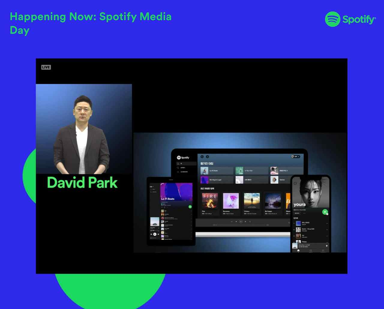 David Park, managing director of Spotify Korea, talks during an online press conference held on Monday.