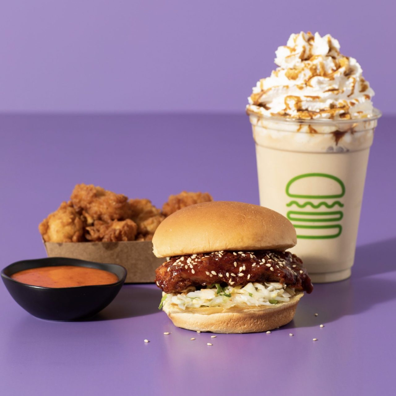 Shake Shack's Korean-style Fried Chick'n sandwich and Korean Gochujang Chick'n Bites in the US. (Shake Shack)