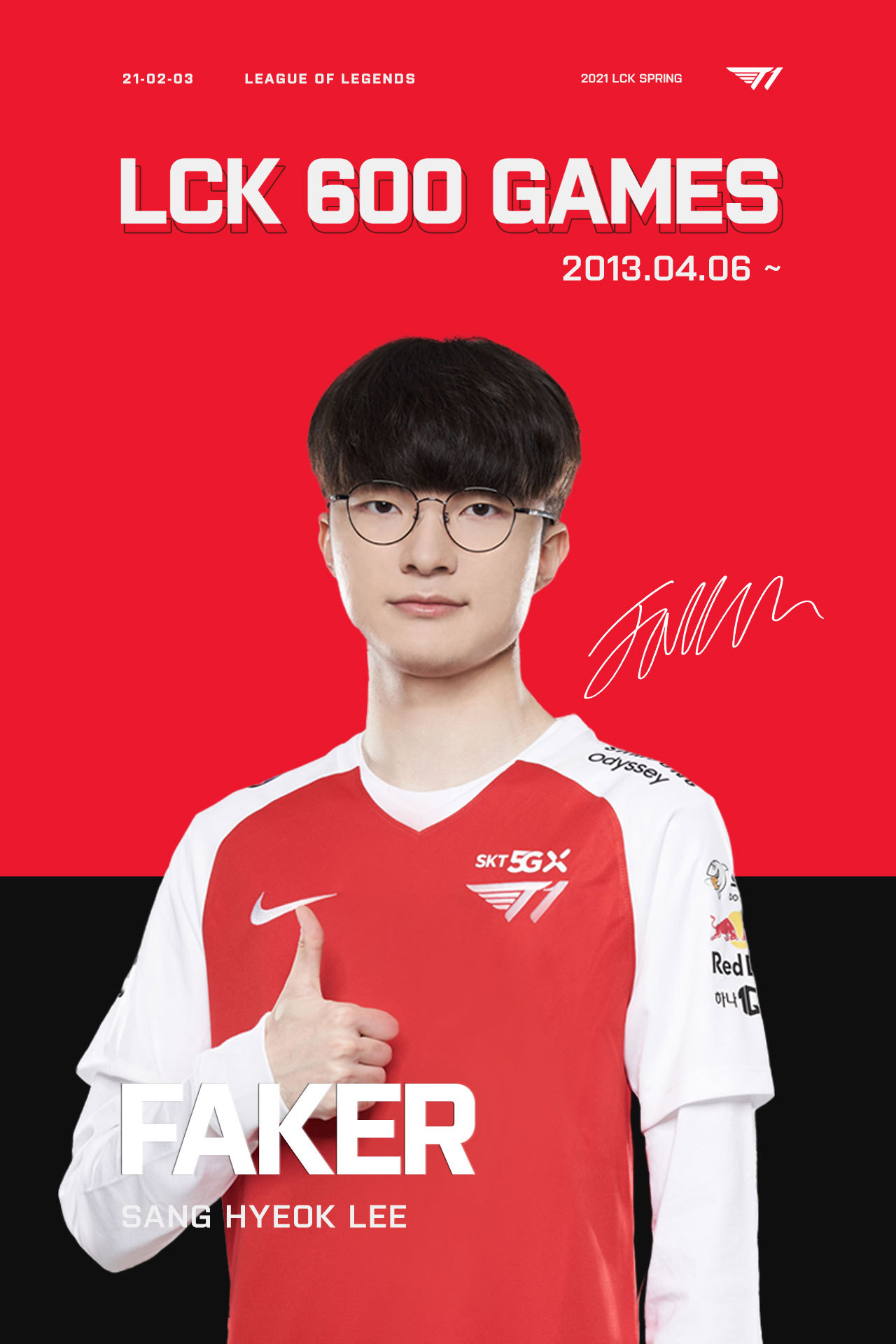 Faker plays his 600th game in the LCK on Feb. 3. (Riot Games)