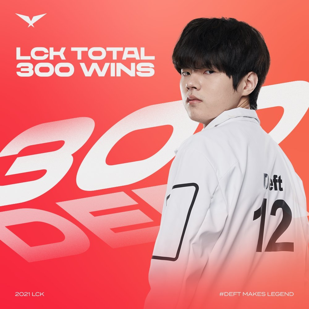 Deft achieves his 300th win in the LCK on Feb. 6. (Twitter)