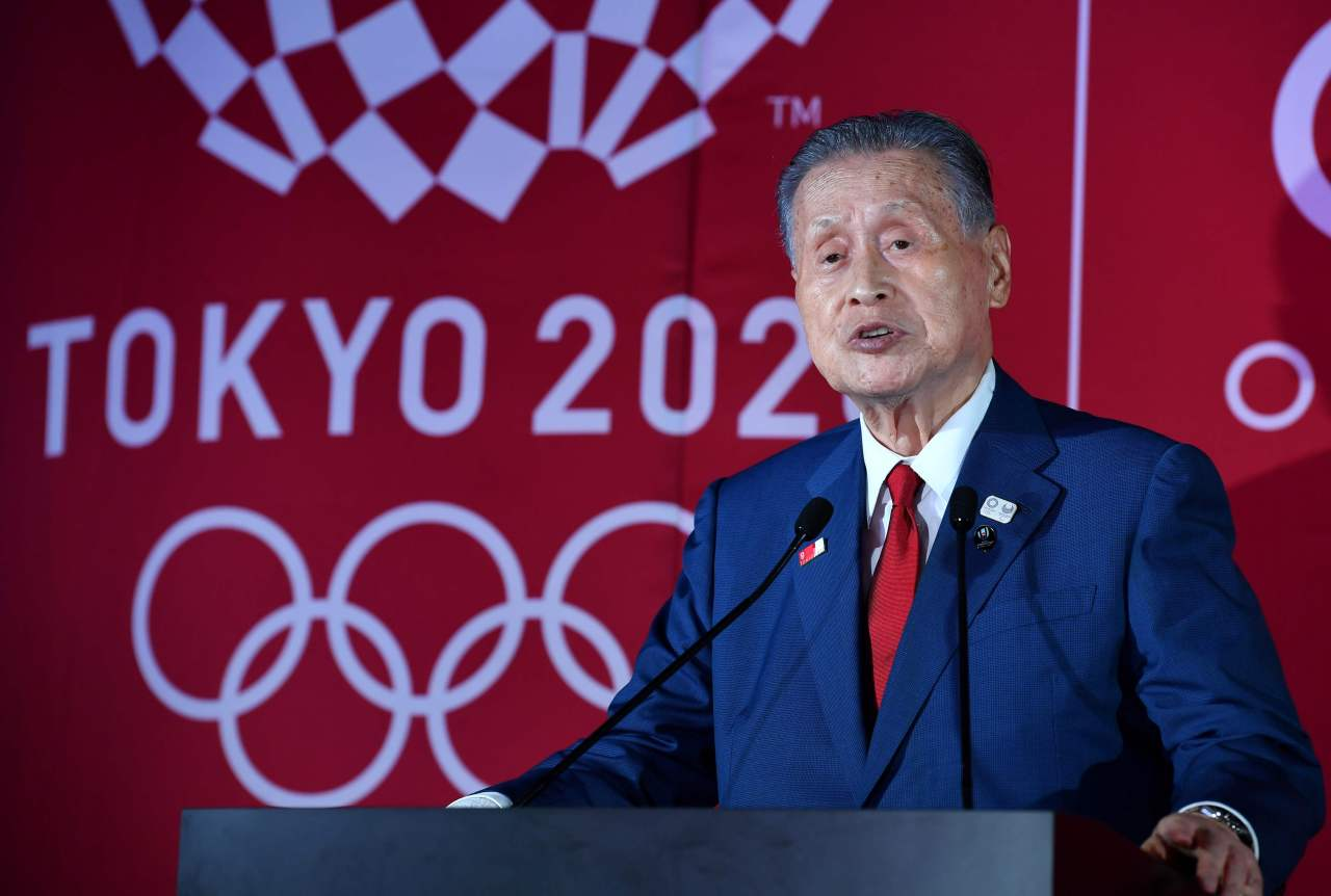 In this file photo taken on July 24, 2019 shows president of Tokyo 2020 Olympic Games organising committee, Yoshiro Mori, delivering a speech during a ceremony to unveil the one-year countdown clock for the Tokyo 2020 Olympic Games in Tokyo. (AFP-Yonhap)