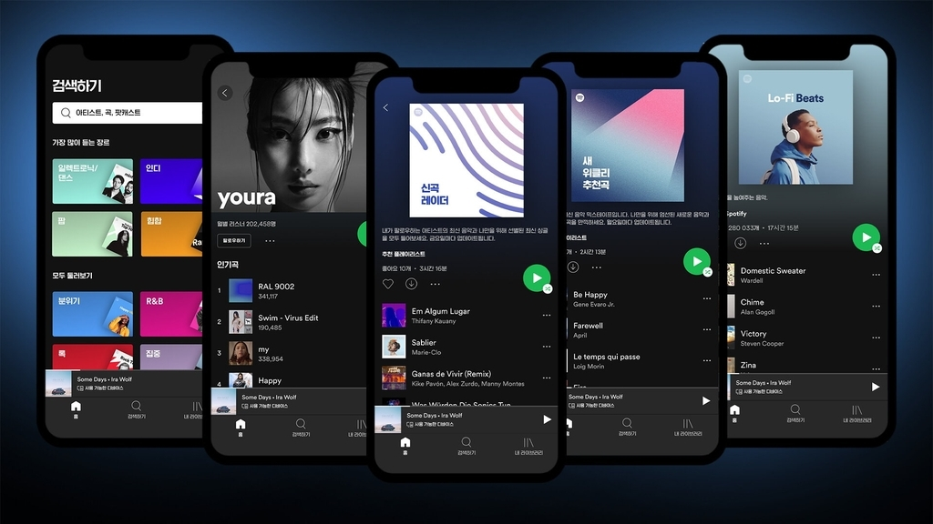 This file image, provided by Spotify Technology SA on Feb. 2, 2021, shows its music streaming service. (Spotify Technology SA)