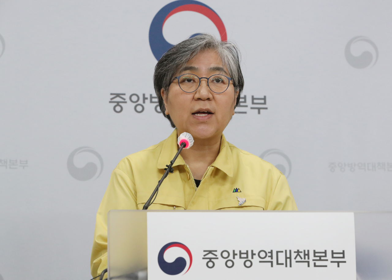Korea Disease Control and Prevention Agency chief Jung Eun-kyeong speaks during a news briefing Monday. (Yonhap)