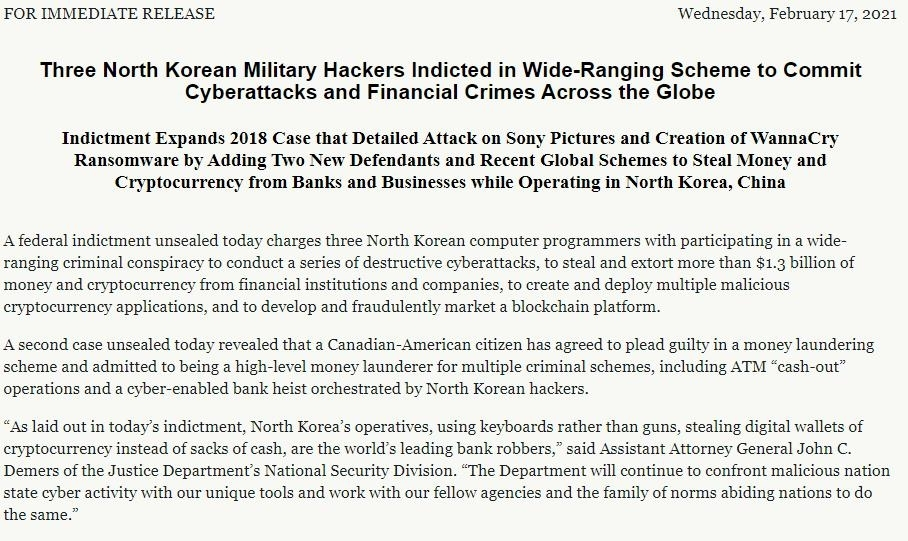 U.S. charges three North Koreans in $1.7 billion hacking spree