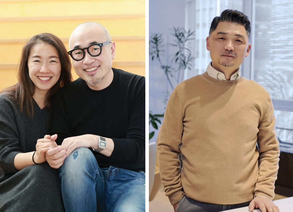 (Left) Woowa Brothers Corp. CEO Kim Bong-jin (R) and his wife Sul Bomi. (Woowa Brothers) (Right) Kakao Chairman Kim Beom-soo (Kakao)
