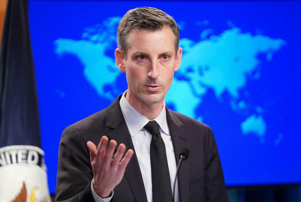 US State Department Spokesperson Ned Price holds a news briefing at the State Department in Washington, DC, on Feb. 17. (AFP-Yonhap)
