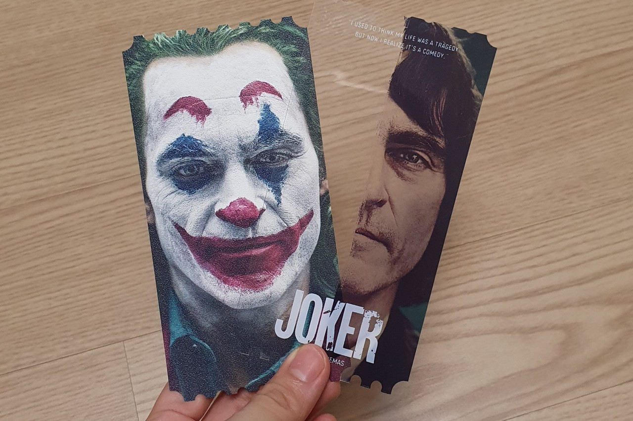 "Megabox's Original Ticket for ""Joker"" (Song Seung-hyun/The Korea Herald)"
