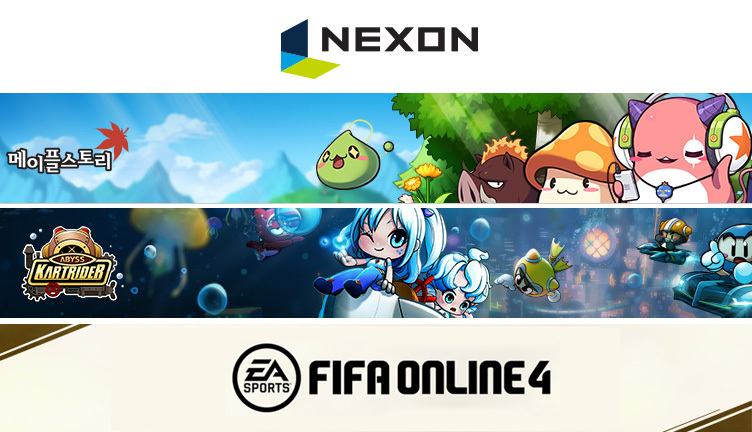 (From top: Nexon's three landmark games, MapleStory, Kartrider and FIFA Online 4)