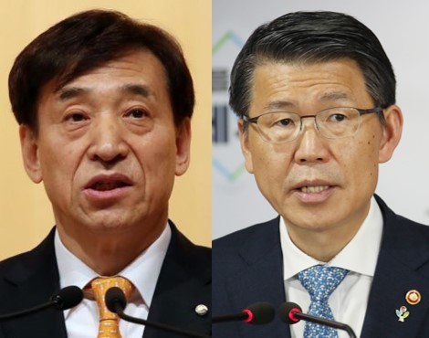 Bank of Korea Gov. Lee Ju-yeol (L) and Financial Services Commission Chairman Eun Sung-soo (R) (Yonhap)