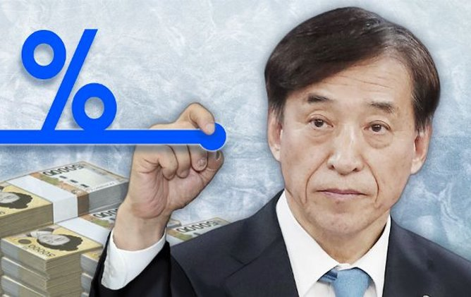 An illustration of Bank of Korea Gov. Lee Ju-yeol keeping the policy rate unchanged. (Yonhap)