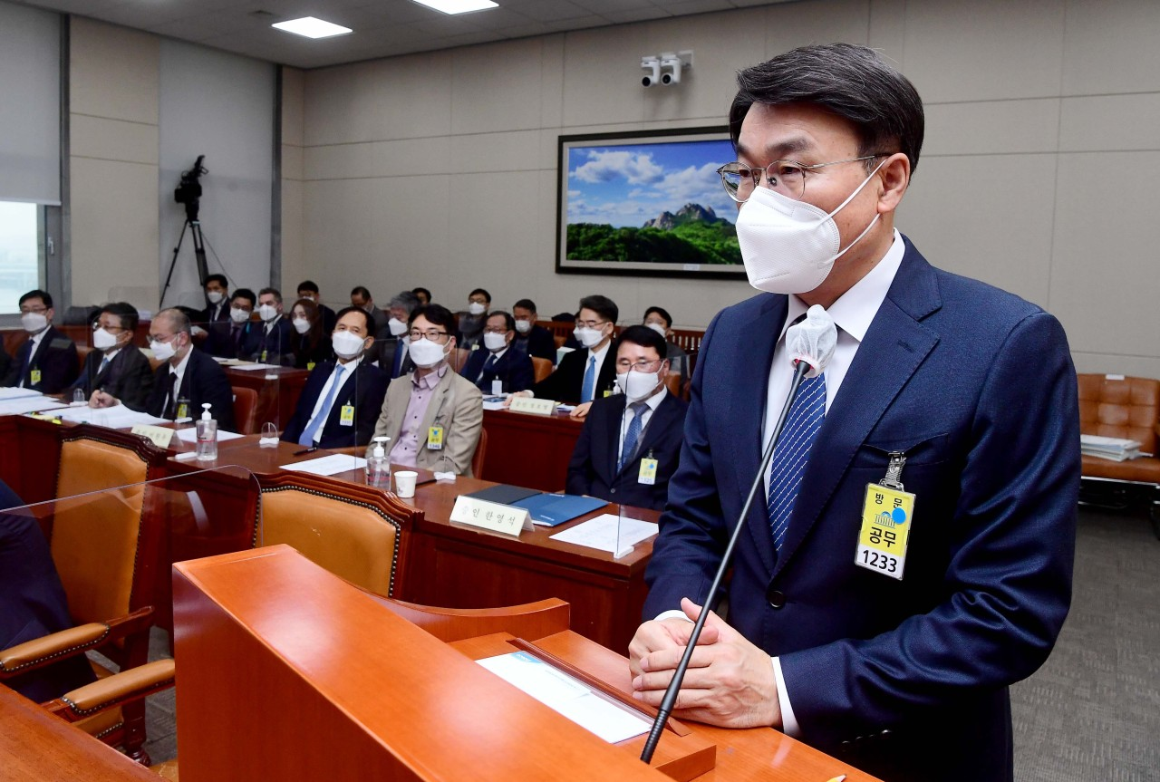 Posco Chief Executive Officer Choi Jung-woo speaks during a parliamentary committee hearing on Monday. (Yonhap)