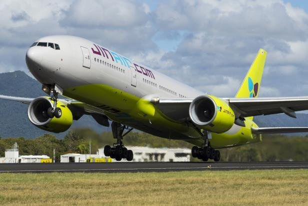 This file photo, taken on March 30, 2020, and provided by Jin Air, shows a B777 jet taking off from Incheon International Airport, just west of Seoul. (Jin Air)