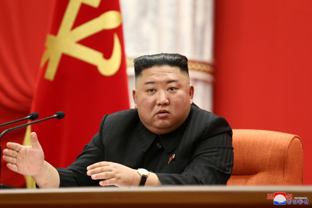 North Korean leader Kim Jong-un speaks during the first plenary meeting of the eighth Central Committee of the Workers' Party in Pyongyang on Jan. 10, 2021, in this photo released by the North's official Korean Central News Agency. (KCNA-Yonhap)