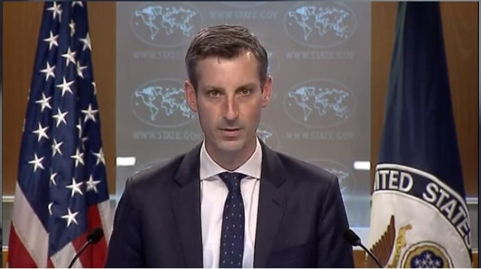 The captured image from the website of the US State Department shows department spokesman Ned Price speaking in a press briefing at the State Department in Washington on Tuesday. (Screenshot captured from the US State Department website)