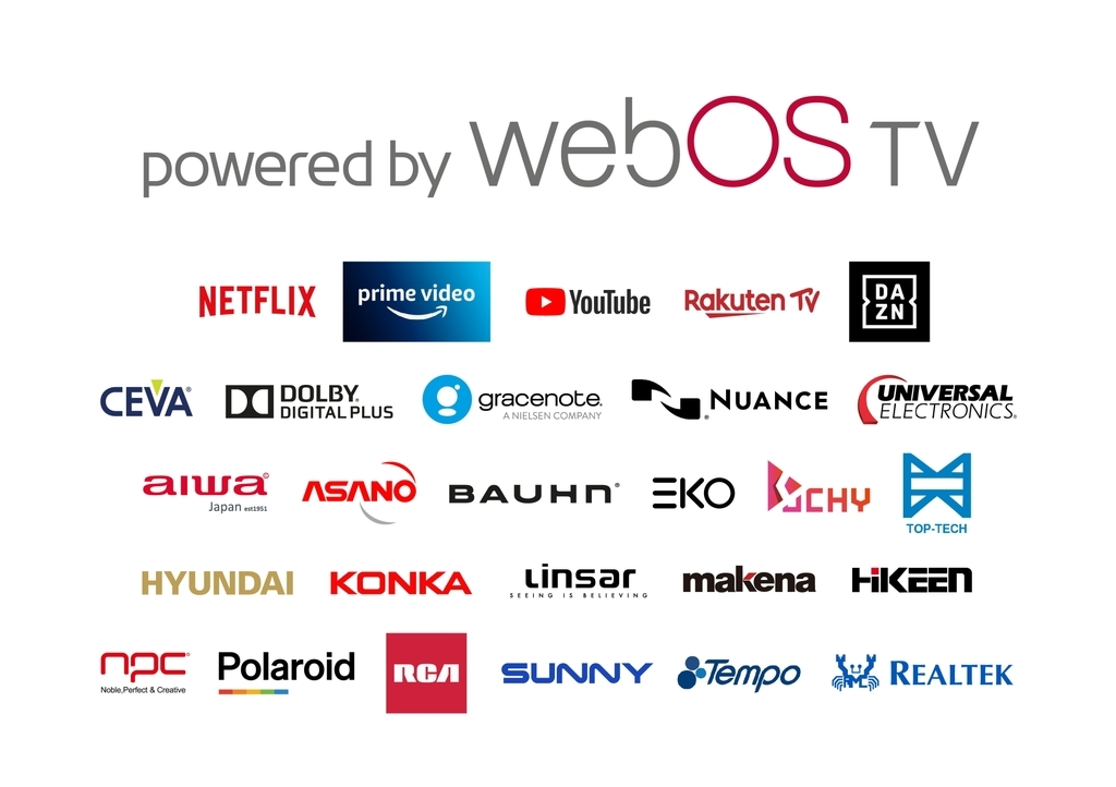 This image provided by LG Electronics Inc. on Wednesday, shows logos of firms and services that support LG's webOS smart TV platform. (LG Electronics Inc.)