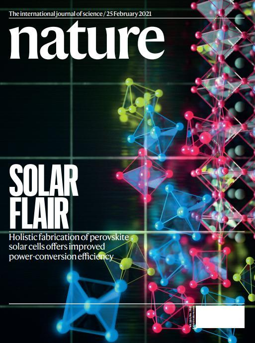 The front page of Feb. 25 issue of science journal Nature shows the research on the next-generation perovskite solar cells conducted by the Korea Research Institute of Chemical Technology. (Korea Research Institute of Chemical Technology)