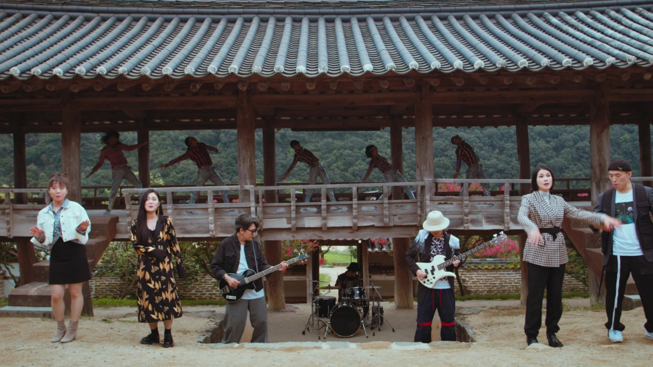 Band Leenalchi is seen performing in a scene from the Korea Tourism Organization's