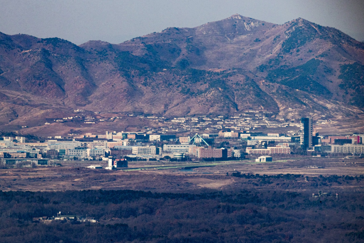 A suspended joint industrial complex in North Korea's border city of Kaesong is seen from the South Korean border city of Paju, north of Seoul, on Feb. 8, 2021, ahead of the fifth anniversary of the suspension. South Korea, under the Park Geun-hye administration, announced on Feb. 10, 2016, that it would suspend the complex, citing Pyongyang's fourth nuclear test and rocket launches. (Yonhap)