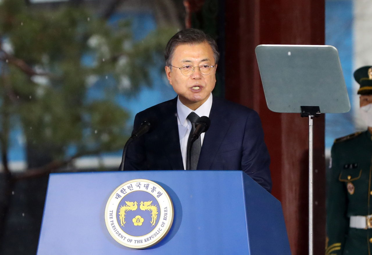 Moon Jae-in delivers a speech during the March 1 Independence Movement Day ceremony at Tapgol Park in Seoul on Monday. (Yonhap)