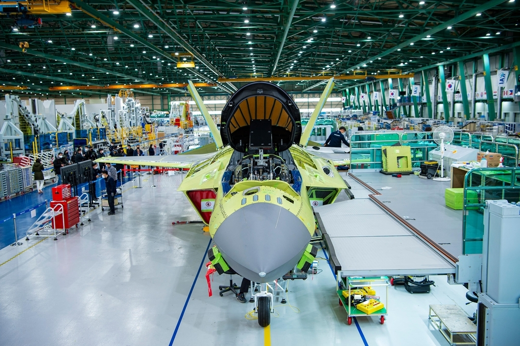 This photo, provided by the arms procurement agency, shows a prototype of South Korea's first indigenous fighter jet, the KF-X, at a Korea Aerospace Industries (KAI) plant in the southeastern city of Sacheon last Wednesday. (Arms procurement agency)