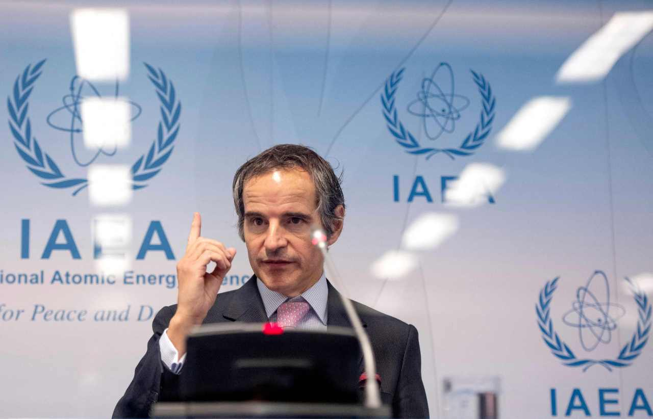 Rafael Grossi, director general of the International Atomic Energy Agency (IAEA), speaks during a press conference at the agency's headquarters in Vienna, Austria, on Monday, in this photo released by AFP. (AFP-Yonhap)