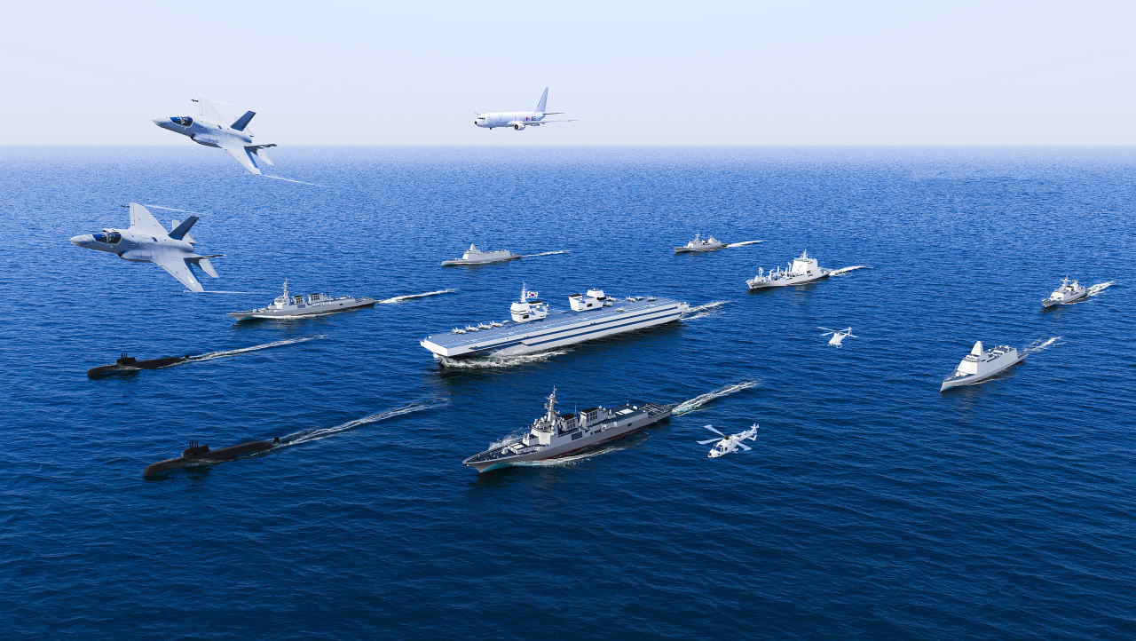 An illustration of a carrier battle group (Navy)