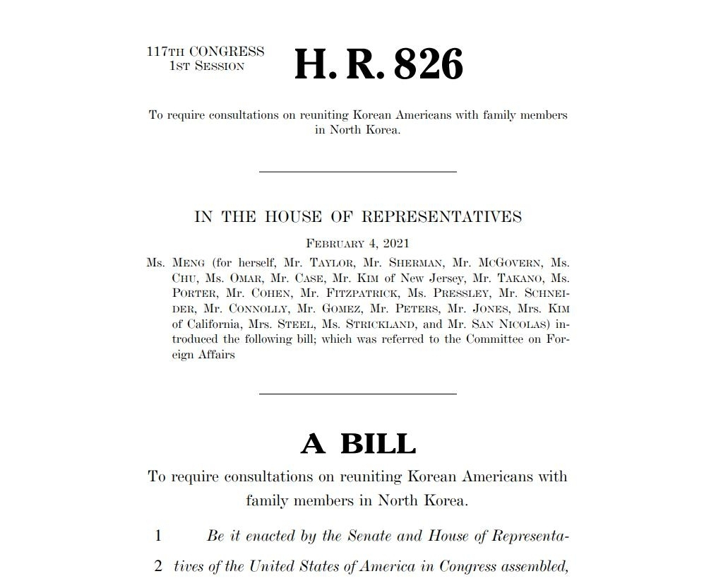 The captured image from the website of the US House of Representatives Committee on Foreign Affairs shows a new bill, calling for US efforts to facilitate reunion of Korean-Americans with their loved ones in North Korea. (US House of Representatives Committee on Foreign Affairs)
