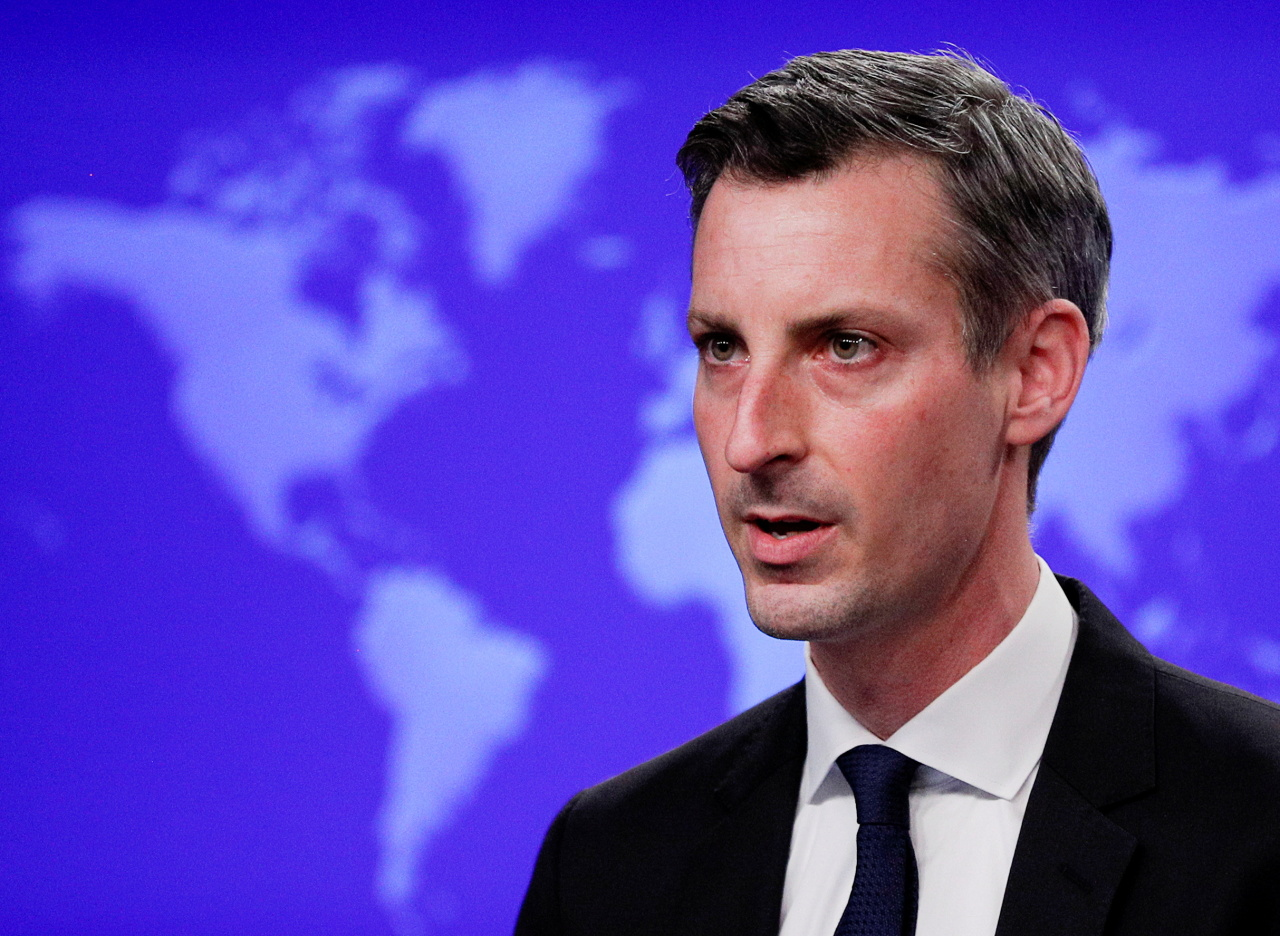 US State Department Spokesman Ned Price speaks to reporters during a news briefing at the State Department in Washington, US, Monday. (Reuters-Yonhap)